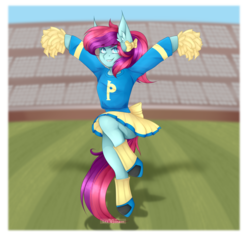 Size: 2560x2425 | Tagged: anthro, artist:dazyre, bow, cheering, cheerleader, clothes, cute, earth pony, football field, miniskirt, oc, oc only, oc:taffy swirl, pleated skirt, pom pom, pony, ponytail, safe, shirt, shoes, skirt, skirt lift, socks, solo, unguligrade anthro