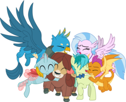 Size: 3701x3000 | Tagged: safe, artist:cloudyglow, gallus, ocellus, sandbar, silverstream, smolder, yona, changedling, changeling, classical hippogriff, dragon, earth pony, griffon, hippogriff, pony, yak, she's all yak, .ai available, bow, bowtie, cloven hooves, colored hooves, cute, diaocelles, diastreamies, dragoness, eyes closed, female, gallabetes, group hug, hair bow, hug, jewelry, male, monkey swings, necklace, necktie, sandabetes, simple background, smolderbetes, student six, teenager, transparent background, vector, yonadorable