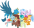 Size: 3701x3000   Tagged: safe, artist:cloudyglow, gallus, ocellus, sandbar, silverstream, smolder, yona, changedling, changeling, classical hippogriff, dragon, earth pony, griffon, hippogriff, pony, yak, she's all yak, .ai available, bow, bowtie, cloven hooves, colored hooves, cute, diaocelles, diastreamies, dragoness, eyes closed, female, gallabetes, group hug, hair bow, hug, jewelry, male, monkey swings, necklace, necktie, sandabetes, simple background, smolderbetes, student six, teenager, transparent background, vector, yonadorable