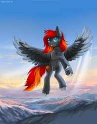 Size: 900x1149 | Tagged: safe, artist:margony, oc, oc only, oc:flame runner, pegasus, pony, clothes, cloud, colored wings, colored wingtips, ear fluff, female, looking at you, male, mountain, scenery, sky, solo, spread wings, stallion, unshorn fetlocks, wings, ych result