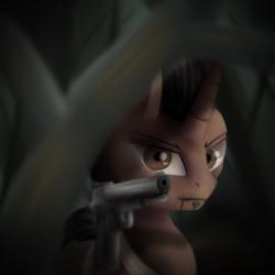 Size: 3000x3000 | Tagged: safe, artist:quefortia, pony, unicorn, crossover, far cry 3, gun, handgun, male, pistol, solo, stallion, vaas montenegro, weapon