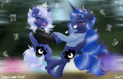 Size: 3500x2250 | Tagged: safe, artist:darkest-lunar-flower, princess luna, alicorn, butterfly, pony, belly button, clothes, crying, duality, flower, spinning, sweater, the fun has been doubled