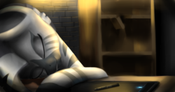 Size: 5703x3000 | Tagged: safe, artist:quefortia, oc, oc:xenith, zebra, fallout equestria, drawing tablet, eyes closed, fanfic, fanfic art, female, hooves, mare, sleeping, solo, stylus, table, zebra oc