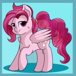 Size: 3000x3000 | Tagged: safe, artist:rainbowtashie, bifröst, pegasus, pony, background pony, female, friendship student, mare, raised hoof, simple background, smiling, solo