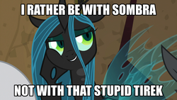 Size: 1024x576 | Tagged: caption, changeling, changeling queen, chrysombra, edit, edited screencap, female, frenemies (episode), grammar error, king sombra, male, queen chrysalis, safe, screencap, shipping, spoiler:s09e08, straight, text