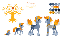 Size: 4200x2500 | Tagged: safe, artist:jackiebloom, oc, oc:idunn, earth pony, pony, cutie mark, female, filly, foal, mare, offspring, parent:princess luna, parent:rockhoof, reference sheet, simple background, solo, transparent background