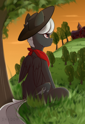 Size: 1063x1535 | Tagged: artist:shadowreindeer, commission, hat, hill, oc, oc only, pegasus, pony, safe, scenery, sitting, solo, sweet apple acres