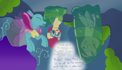 Size: 2800x1600 | Tagged: artist:mightyshockwave, changedling, changeling, changeling hive, cocoon, flying, glasses, jewelry, mrs. shy, necklace, relaxing, safe, spiracle, twilight velvet, unsure
