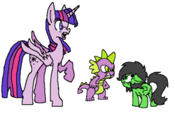 Size: 1014x672 | Tagged: alicorn, angry, artist:lockhe4rt, earth pony, female, filly, oc, oc:filly anon, pixel art, pony, raised hoof, safe, simple background, spike, twilight sparkle, twilight sparkle (alicorn), white background
