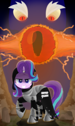Size: 1800x3000 | Tagged: armor, artist:spellboundcanvas, cloak, clothes, equal sign, grogar, hood, horn, horn ring, safe, starlight glimmer