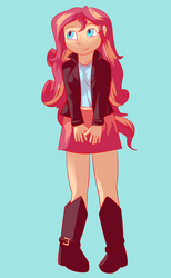 Size: 1115x1814 | Tagged: artist:rainbowkittenmagic, artist:zeninji, boots, clothes, equestria girls, female, freckles, jacket, leather, leather jacket, safe, shoes, skirt, solo, sunset shimmer