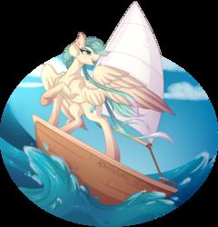 Size: 5000x5200 | Tagged: safe, artist:amazing-artsong, oc, oc:sea shanty, pegasus, pony, absurd resolution, ocean, open mouth, raised hoof, ship, solo