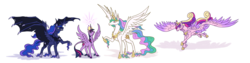 Size: 9600x2400 | Tagged: absurd res, alicorn, alicorn tetrarchy, alternate design, artist:moonrisethemage, bat ponified, bat pony, bat pony alicorn, classical unicorn, cloven hooves, colored fetlocks, comparison, crown, dragon wings, ethereal fetlocks, ethereal mane, feathered fetlocks, female, galloping, hoof shoes, horn, jewelry, large wings, leonine tail, long horn, lunabat, mare, peytral, pony, princess cadance, princess celestia, princess luna, quartet, race swap, raised hoof, regalia, royal sisters, safe, shoulder feathers, simple background, sisters, smiling, spread wings, tattered, tattered wings, twilight sparkle, twilight sparkle (alicorn), unshorn fetlocks, white background, wing claws, wings