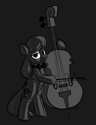 Size: 2550x3300 | Tagged: artist:latexia, bipedal, bipedal leaning, bow, bowtie, cello, dark, earth pony, hood, hoof hold, latex, latex suit, leaning, lidded eyes, musical instrument, octavia melody, pony, safe, solo