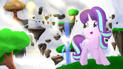 Size: 1920x1080 | Tagged: artist:nicxchy, cloud, female, floating island, grass, mare, pony, raised hoof, safe, scenery, sky, solo, starlight glimmer, tree, unicorn, waterfall