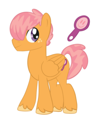 Size: 1280x1603 | Tagged: artist:lightwolfheart, looking back, magical lesbian spawn, male, mirror, oc, oc:pollen grain, offspring, parent:babs seed, parent:scootaloo, parents:scootababs, pegasus, pony, safe, show accurate, simple background, solo, stallion, transparent background