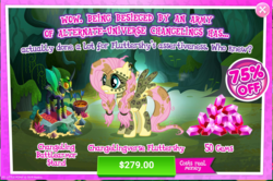 Size: 1569x1042 | Tagged: advertisement, alternate timeline, chrysalis resistance timeline, costs real money, crack is cheaper, cup cake, discount, dj pon-3, fluttershy, gameloft, gem, greedloft, official, peso, pony, safe, sale, tribalshy, vinyl scratch