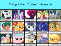 Size: 1463x1108 | Tagged: safe, artist:bea-drowned, apple bloom, applejack, bright mac, chancellor neighsay, coloratura, cozy glow, discord, flam, flim, fluttershy, gladmane, pear butter, princess luna, sci-twi, scootaloo, stygian, sunset shimmer, sweetie belle, tempest shadow, timber spruce, twilight sparkle, bloom and gloom, equestria girls, friendship university, leap of faith, legend of everfree, marks for effort, my little pony: the movie, shadow play, the mane attraction, the perfect pear, to where and back again, viva las pegasus, cutie mark crusaders, flim flam brothers, rara, things i want to see in season 9