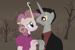 Size: 2576x1736 | Tagged: abandoned, anthro, crown, crying, discopie, discord, ear piercing, earring, female, holding hands, husband and wife, jewelry, male, mare, my little pony, nail polish, nergal, piercing, pinkie pie, pony, princess bubblegum, regalia, safe, shipping, stallion, straight