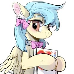 Size: 640x640   Tagged: source needed, safe, artist:amo, oc, oc only, oc:lrivulet, oc:左岸, pegasus, pony, book, bow, bowtie, bust, chinese, female, hair bow, looking at you, mare, pegasus oc, portrait, ribbon, simple background, smiling, solo, text, translated in the description, white background