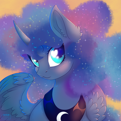Size: 1500x1500 | Tagged: :3, alicorn, artist:striped-chocolate, blushing, bust, cute, ear fluff, ethereal mane, female, galaxy mane, heart eyes, lunabetes, mare, pony, portrait, princess luna, safe, solo, starry mane, wingding eyes, wing fluff