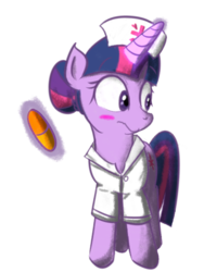 Size: 3000x4000 | Tagged: alternate hairstyle, artist:yinglongfujun, blushing, female, hair bun, looking away, magic, mare, medicine, nurse, nurse outfit, pill, safe, solo, suppository, twilight sparkle, unicorn