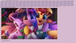 Size: 1305x744 | Tagged: safe, artist:light262, edit, starlight glimmer, sunset shimmer, twilight sparkle, alicorn, pony, unicorn, /mlp/, 4chan, c:, cape, cheek fluff, christmas, christmas tree, clothes, cute, ear fluff, female, fluffy, get, glimmerbetes, happy, hnnng, holiday, hug, index get, leg fluff, looking at you, mare, one eye closed, open mouth, right neighborhood, scarf, selfie, shimmerbetes, side hug, smiling, sparkles, sweater, tree, trio, twiabetes, twilight sparkle (alicorn), wink
