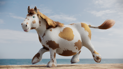 Size: 3840x2160 | Tagged: 3d, artist:kiedough, belly, big belly, blender cycles, chubby, cow tail, fat, fluffy, high res, horse, hybrid, oc, ocean, oc:kie dough, realistic, realistic anatomy, realistic horse legs, running, safe, tongue out, tubby, unshorn fetlocks