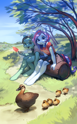Size: 2971x4753 | Tagged: anthro, artist:aphphphphp, cute, duck, female, log, pony, safe, scenery, sitting, tree, unguligrade anthro