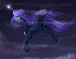 Size: 4200x3300   Tagged: safe, artist:sukiskuki, princess luna, alicorn, pony, cloud, female, glowing horn, horn, mare, smiling, solo, spread wings, wings