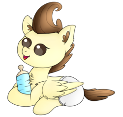 Size: 653x623 | Tagged: safe, artist:ezzy-artz, pound cake, pegasus, pony, baby, baby bottle, baby pony, beady eyes, chest fluff, colt, cute, diaper, ear fluff, male, open mouth, poundabetes, prone, simple background, solo, transparent background