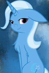 Size: 514x766 | Tagged: artist:bobtailcat, chest fluff, cute, diatrixes, female, floppy ears, leg fluff, mare, pony, safe, sitting, solo, trixie, unicorn