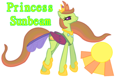 Size: 1022x633 | Tagged: artist:clawort-animations, base used, changedling, changedling oc, changeling, changeling oc, changeling queen, changeling queen oc, female, hoof shoes, oc, oc only, oc:princess sunbeam, parent:princess celestia, parent:thorax, reference sheet, safe, simple background, solo, transparent background