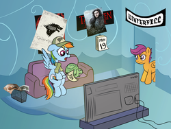 Size: 1200x900 | Tagged: artist:m.w., baseball cap, calendar, cap, clothes, couch, daenerys targaryen, game of thrones, hat, jon snow, /mlp/, pennant, poster, rainbow dash, safe, scarf, scootaloo, tank, television, watching tv