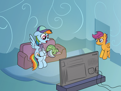 Size: 1200x900 | Tagged: safe, alternate version, artist:m.w., rainbow dash, scootaloo, tank, /mlp/, baseball cap, cap, clothes, couch, hat, pennant, scarf, television, watching tv