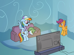 Size: 1200x900 | Tagged: safe, alternate version, artist:m.w., rainbow dash, scootaloo, tank, /mlp/, 4chan cup, baseball cap, cap, clothes, couch, giddy up, hat, pennant, scarf, television, watching tv
