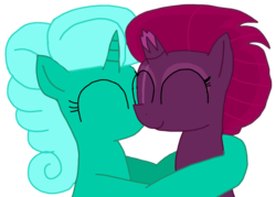 Size: 1510x1080 | Tagged: artist:徐詩珮, broken horn, eyes closed, female, fizzlepop berrytwist, glitter drops, glittershadow, horn, hug, kissing, lesbian, mare, my little pony: the movie, pony, safe, shipping, simple background, tempest shadow, transparent background, unicorn, vector