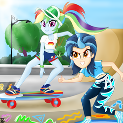 Size: 3000x3000 | Tagged: artist:theretroart88, clothes, equestria girls, high res, indigo zap, rainbow dash, safe, shorts, skateboard, skating, smiling