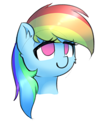 Size: 702x834 | Tagged: artist:puetsua, bust, ear fluff, female, lidded eyes, mare, no pupils, pegasus, pony, portrait, rainbow dash, safe, simple background, sketch, smiling, solo, white background