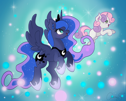 Size: 2500x2000 | Tagged: alicorn, artist:zombies-pudding, blank flank, blushing, dream realm, dream walker luna, duo, ear fluff, ethereal mane, female, filly, floating, flying, for whom the sweetie belle toils, hair over one eye, happy, jewelry, mare, open mouth, pony, princess luna, regalia, safe, spread wings, starry mane, sweetie belle, unicorn, wings