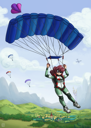 Size: 2000x2829 | Tagged: aircraft, artist:king-kakapo, canterlot, clothes, cloud, falling, flying, goggles, human, humanized, humanized oc, jumpsuit, oc, oc only, oc:windcatcher, :p, parachute, ponyville, safe, scenery, scenery porn, shoes, sky, skydiving, sneakers, solo focus, tongue out