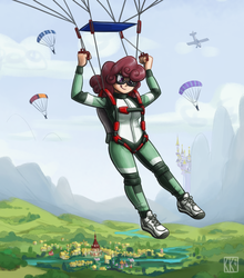 Size: 1761x2000 | Tagged: aircraft, artist:king-kakapo, canterlot, clothes, cloud, falling, flying, goggles, human, humanized, humanized oc, jumpsuit, oc, oc only, oc:windcatcher, :p, parachute, ponyville, safe, scenery, scenery porn, shoes, sky, skydiving, sneakers, solo focus, tongue out