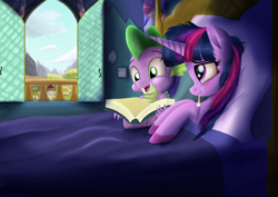 Size: 6173x4360 | Tagged: ail-icorn, alicorn, artist:greenbrothersart, bed, book, caring for the sick, cute, dragon, pony, reading, safe, scene interpretation, sick, sicklight sparkle, spikabetes, spike, spoiler:interseason shorts, thermometer, twiabetes, twilight sparkle, twilight sparkle (alicorn), window