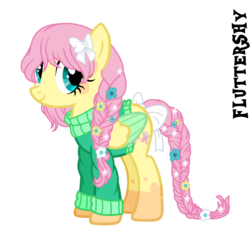 Size: 995x955 | Tagged: safe, artist:starling-sentry-yt, fluttershy, pegasus, pony, alternate hairstyle, base used, bow, braid, braided tail, clothes, female, flower, flower in hair, flower in tail, hair bow, mare, simple background, solo, sweater, tail bow, transparent background