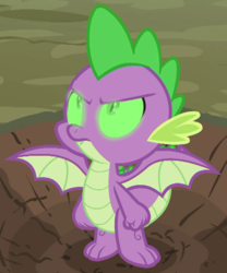 Size: 500x600 | Tagged: angry, artist:undeadponysoldier, badass, dragon, edit, edited screencap, glowing eyes, looking up, male, molt down, safe, screencap, solo, spike, spread wings, winged spike, wings