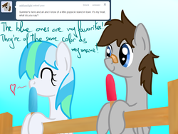 Size: 1024x768   Tagged: safe, artist:ask-chillyflake, artist:phoenixswift, oc, oc only, oc:chillyflake, oc:fuselight, pony, ask fuselight, female, food, male, mare, popsicle, stallion