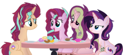 Size: 2212x983   Tagged: safe, artist:celestial-rue0w0, artist:elementbases, oc, oc only, oc:dawn light (ice1517), oc:dusk fire (ice1517), oc:evening glitter, oc:shadow shine, pony, unicorn, icey-verse, base used, brother and sister, commission, donut, ear piercing, earring, female, food, glasses, jewelry, magical lesbian spawn, male, mare, necklace, offspring, parent:starlight glimmer, parent:sunset shimmer, parents:shimmerglimmer, piercing, plate, siblings, simple background, sisters, stallion, stool, table, tattoo, transparent background, twins