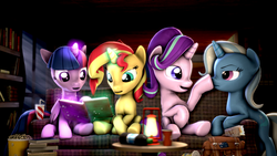 Size: 3840x2160 | Tagged: safe, artist:apexpredator923, starlight glimmer, sunset shimmer, trixie, twilight sparkle, alicorn, pony, unicorn, 3d, 4k, :t, bag, book, bookshelf, boop, chair, couch, counterparts, crepuscular rays, cup, drink, drinking straw, female, floppy ears, food, glow, glowing horn, high res, horn, lantern, levitation, magic, magical quartet, mare, missing accessory, night, nose wrinkle, open mouth, popcorn, smiling, source filmmaker, table, telekinesis, twilight sparkle (alicorn), twilight's counterparts, unamused, wall of tags, window, wings