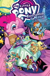Size: 1400x2125   Tagged: safe, artist:kate sherron, applejack, fluttershy, pinkie pie, rainbow dash, rarity, twilight sparkle, idw, spoiler:comic, spoiler:comic80, adventuring party, arrow, barbarian, bard, book, bow (weapon), bow and arrow, brooch, cape, clothes, d20, druid, dungeons and dragons, fantasy class, flutterdruid, jewelry, larp, mane six, parody, pen and paper rpg, ranger, rpg, weapon, wizard