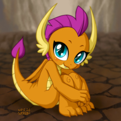 Size: 1200x1200 | Tagged: safe, artist:uotapo, smolder, dragon, season 8, sweet and smoky, blushing, claws, cute, dragoness, female, folded wings, horns, innocent, looking at you, sitting, smiling, smolderbetes, solo, teenaged dragon, teenager, toes, uotapo is trying to murder us, weapons-grade cute